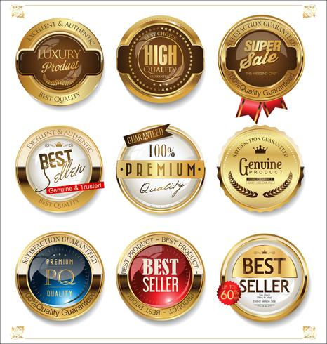 White and gold badges luxury vector collection.