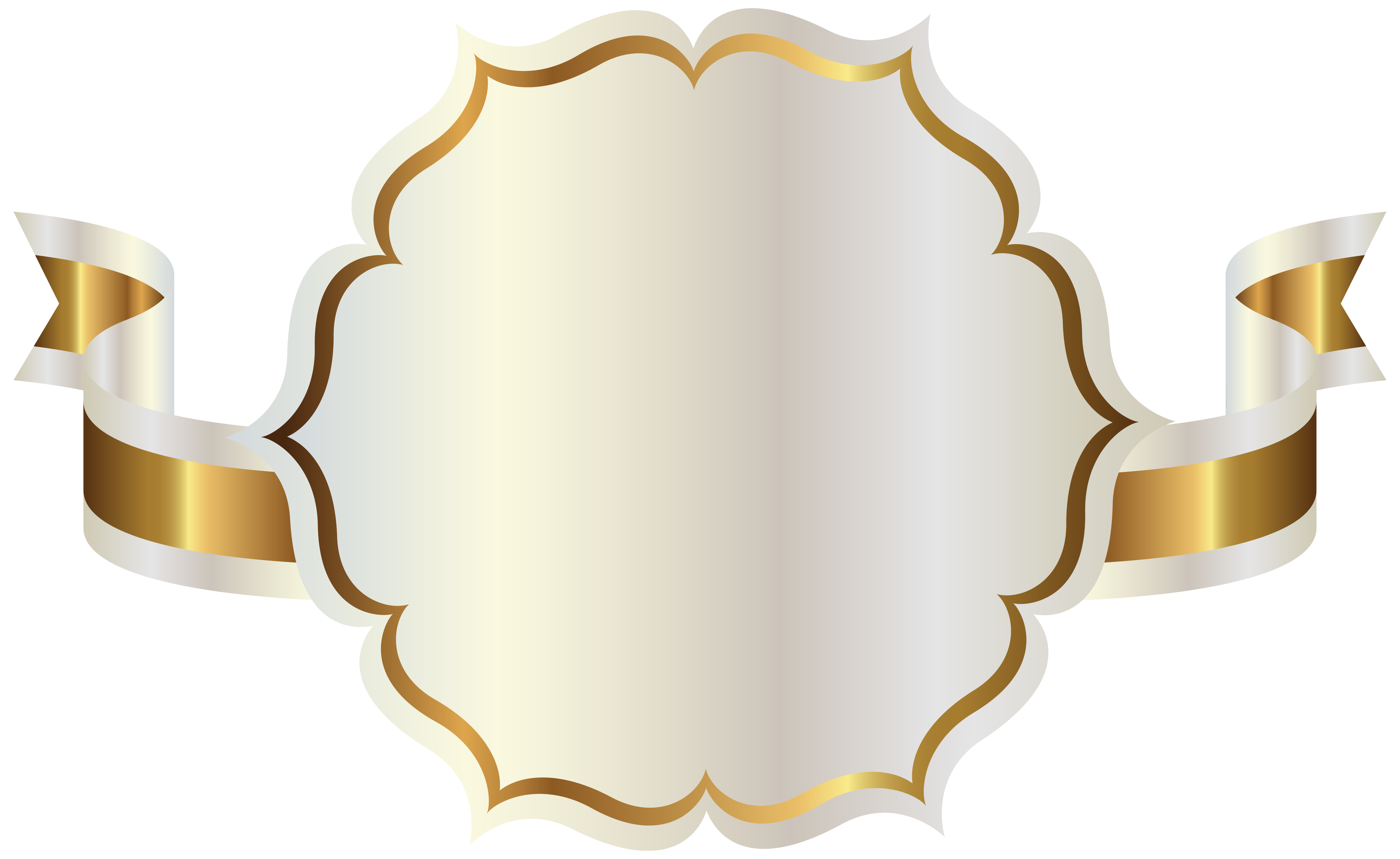 White Label with Gold Ribbon PNG Clipart.