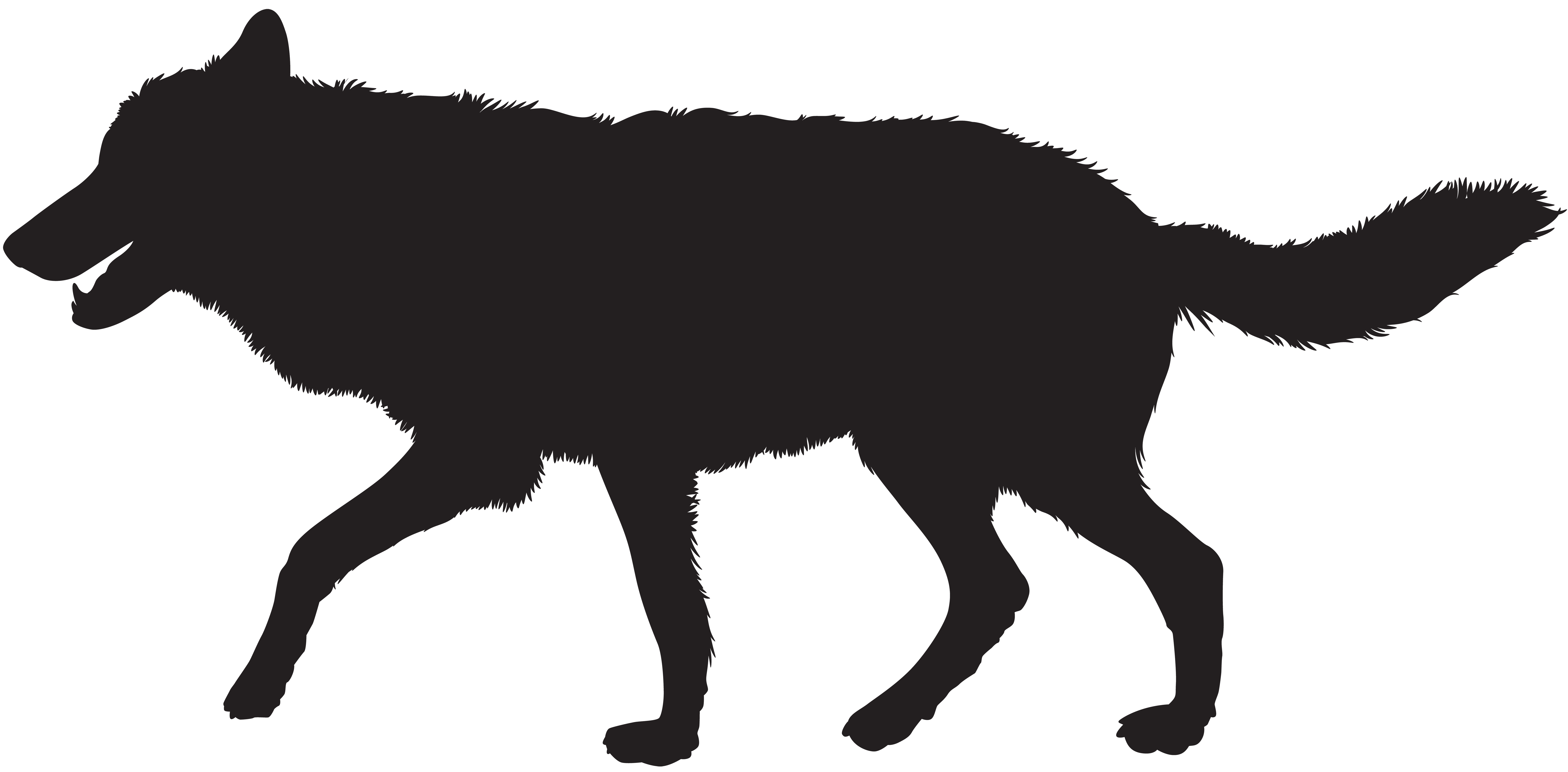 Wolf Silhouette PNG Clip Art Image.