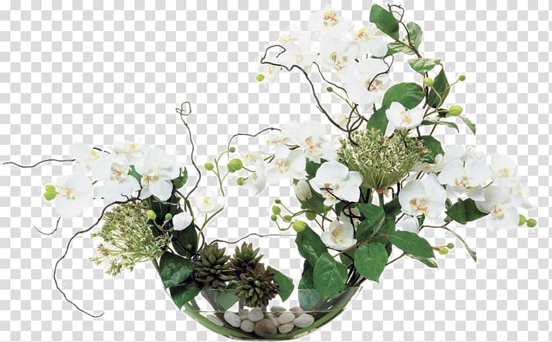 White and green flowers, Floral design Flower bouquet Glass.