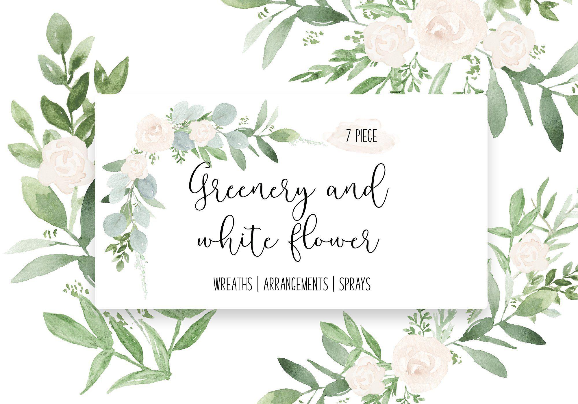 Greenery & White Flower Greenery Wedding watercolor clip art.