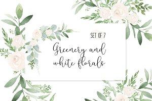 Greenery & white watercolor wedding ~ Illustrations.