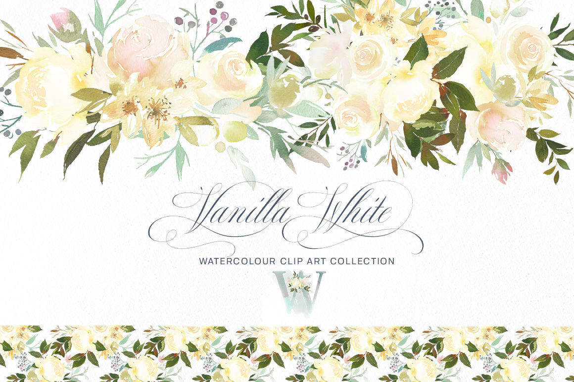 Vanilla White Watercolor Flowers Roses Peonies Greenery.