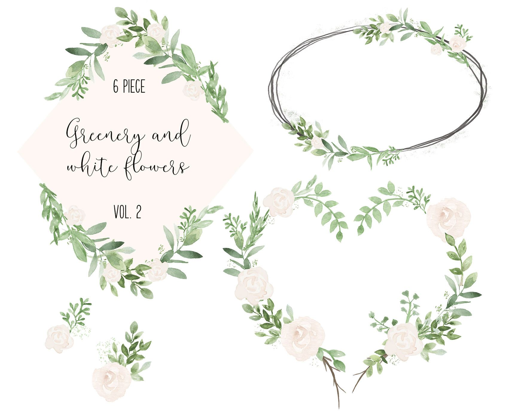 6 Greenery and white flowers watercolor set VOLUME 2.