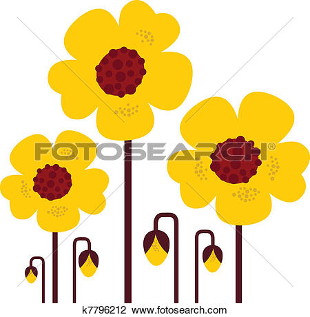 Clipart of Yellow vector flowers collection isolated on white.