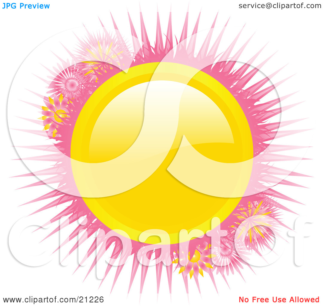 Clipart Illustration of a Bright Shiny Yellow Circle With Pink.