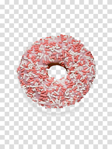 Pink and white donut transparent background PNG clipart.