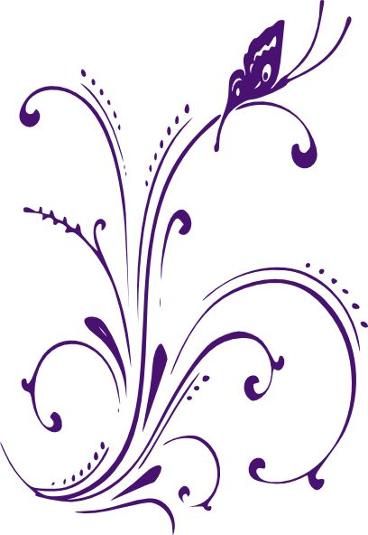 White And Purple Butterfly Clipart.