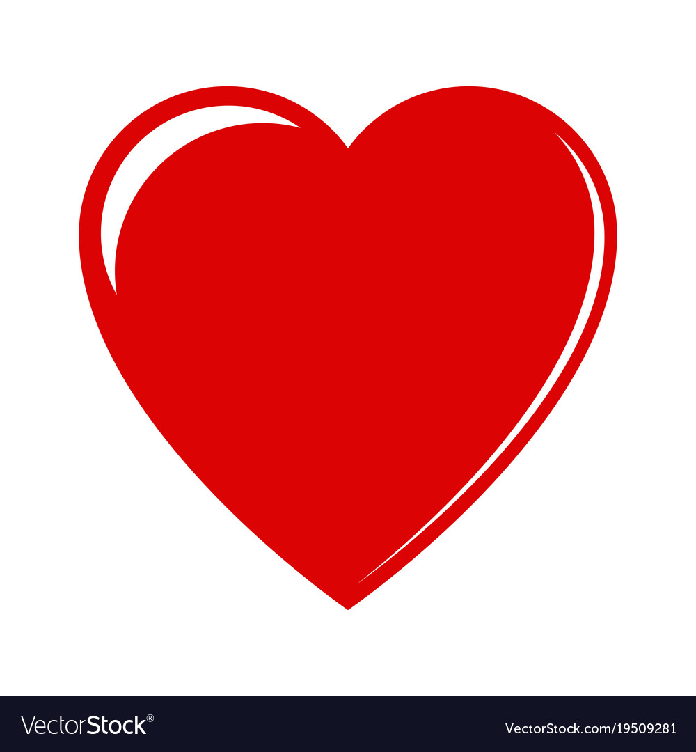 Red heart on a white background.