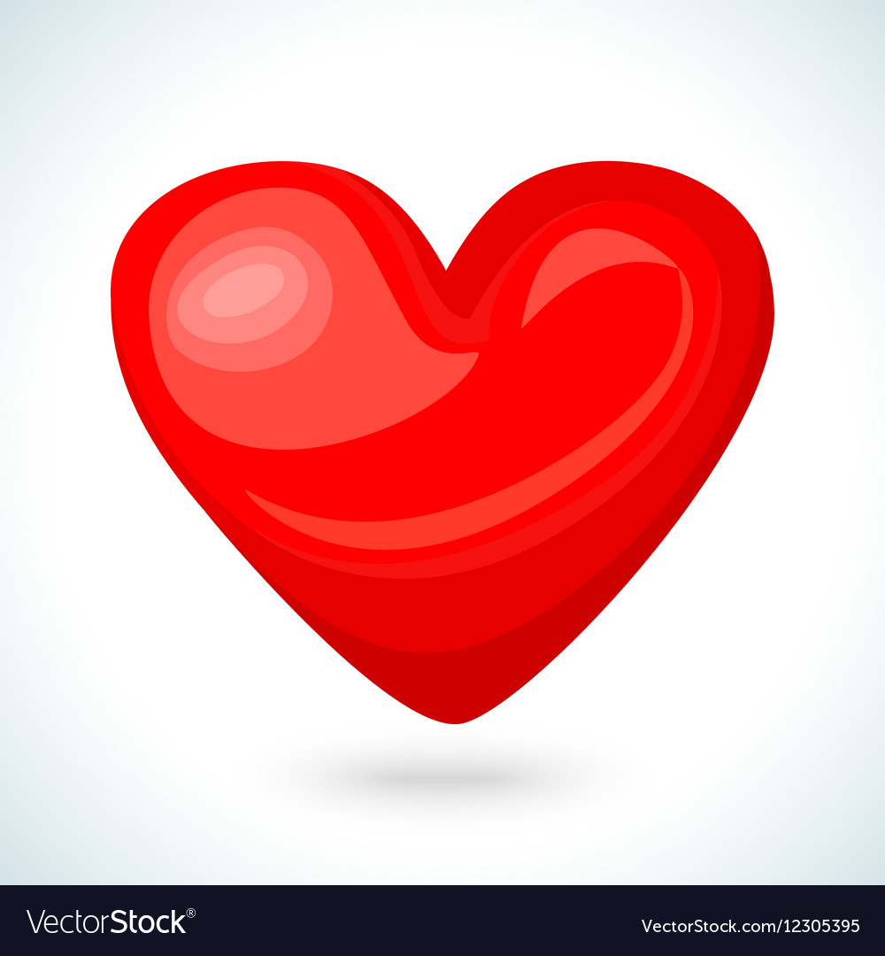 Cute shiny red heart icon isolated on white.