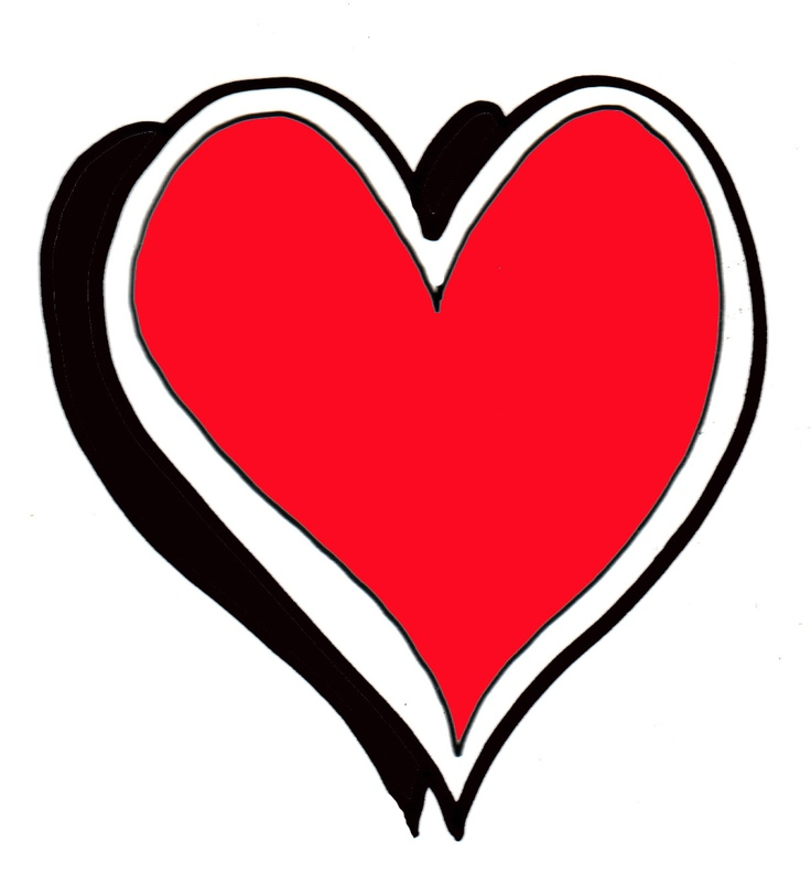 red heart design with white outline.