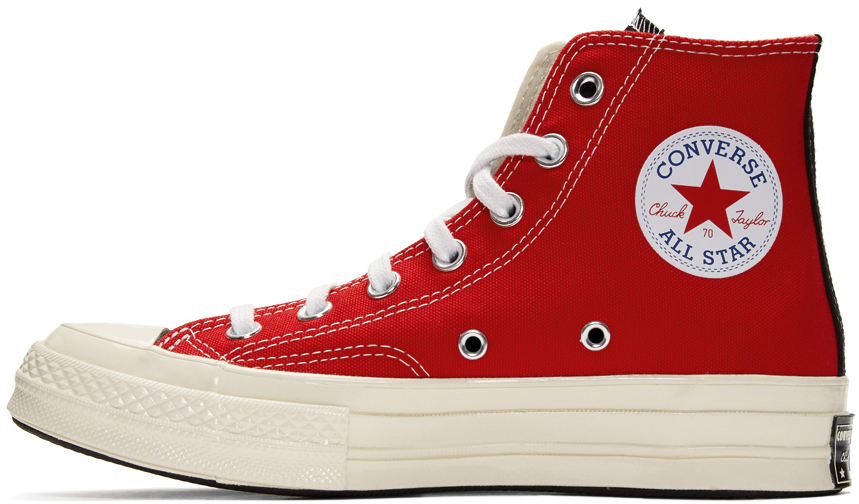 White & Red Logo Play Chuck 70 High Sneakers.