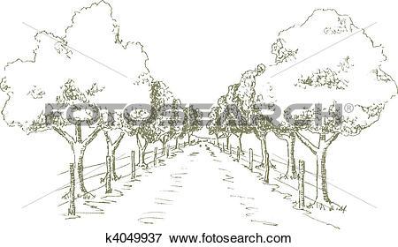 Clip Art of Shady Road k4049937.