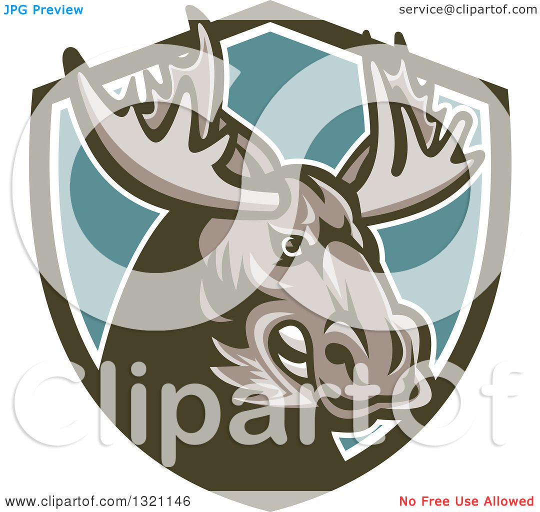 Clipart of a Retro Snarling Tough Moose in a Green White and.