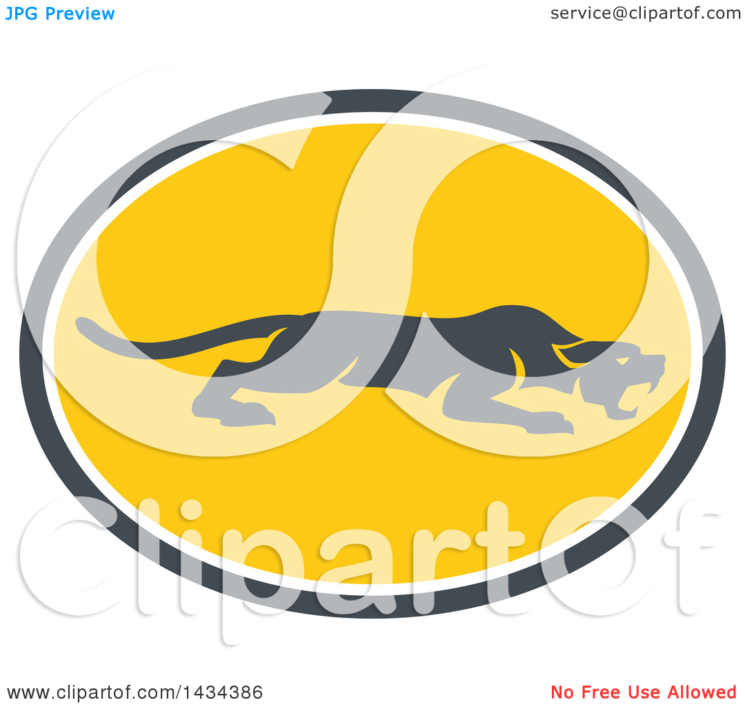 Clipart of a Retro Black Panther Big Cat Stalking in a Gray White.