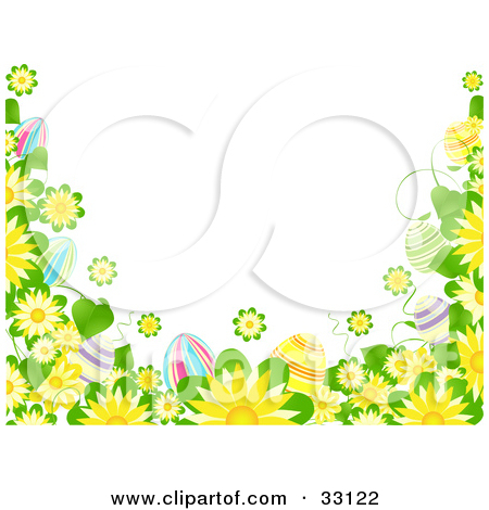 Clipart Illustration of a White Background Bordered By Yellow.