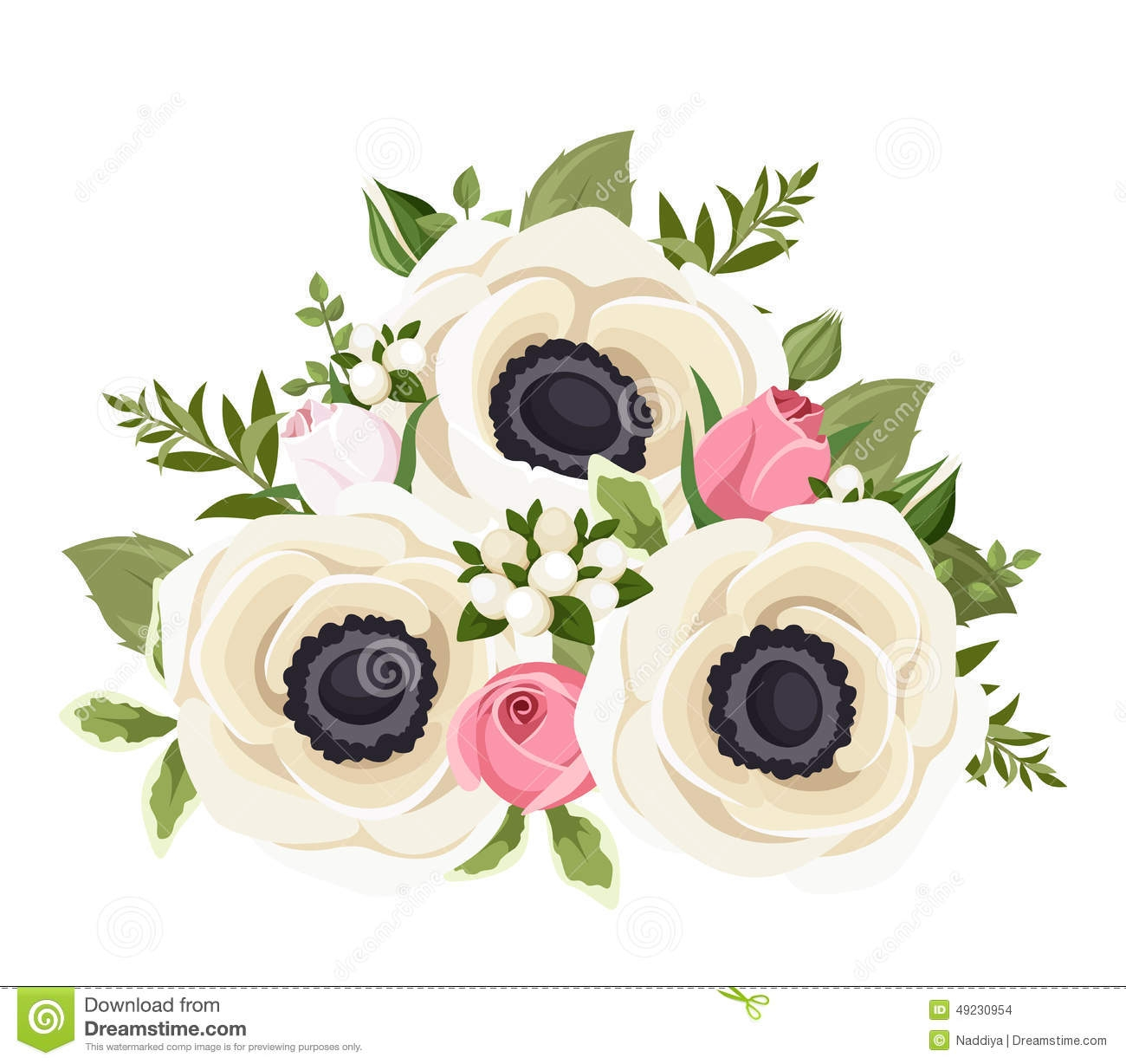 Anemone Flower Clipart.