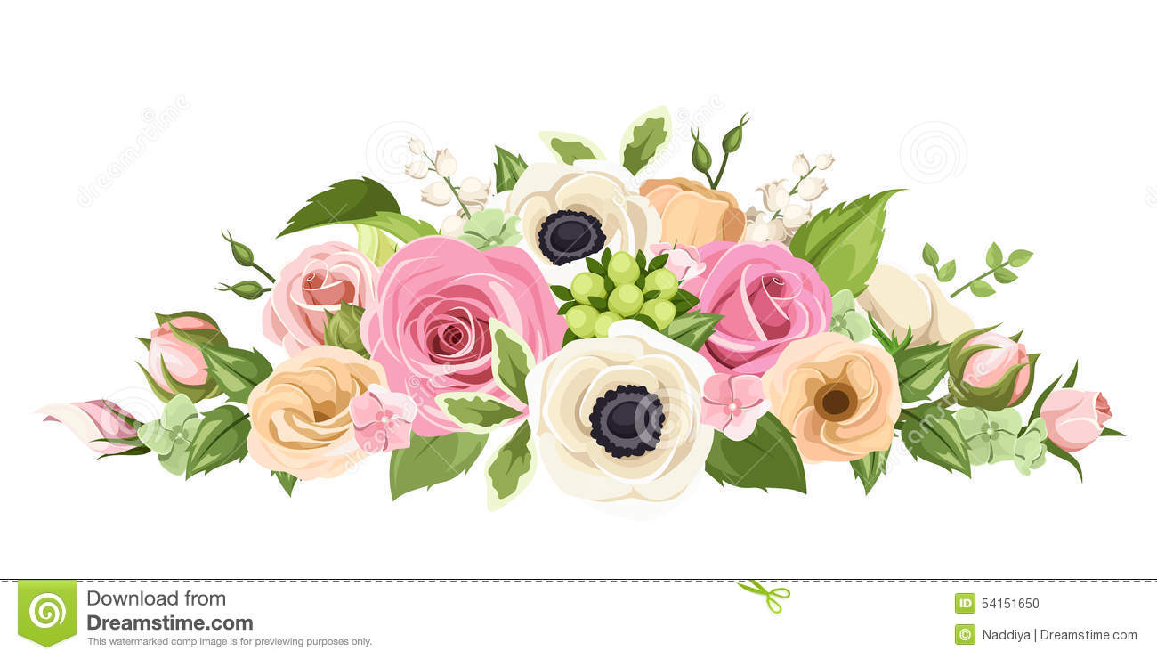 Pink And White Anemones, Lisianthuses, Ranunculus And Hydrangea.