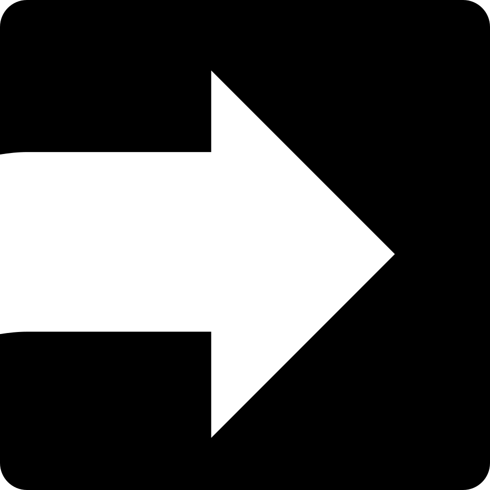 White Arrow Facing The Right Direction Inside A Square Svg Png Icon.