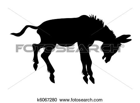 Clipart of vector silhouette stubborn ass on white background.