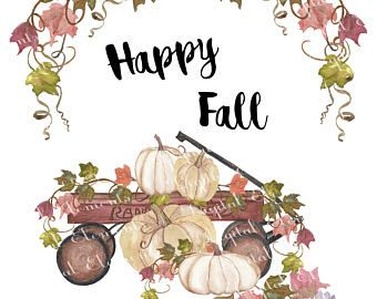 Pumpkins. Clipart: watercolor wreath, bouquets, fall leaves.
