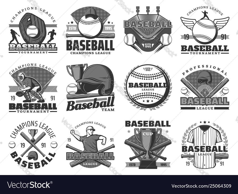 Baseball sport team club tournament icons.