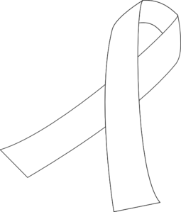 White Awareness Ribbon Clip Art.