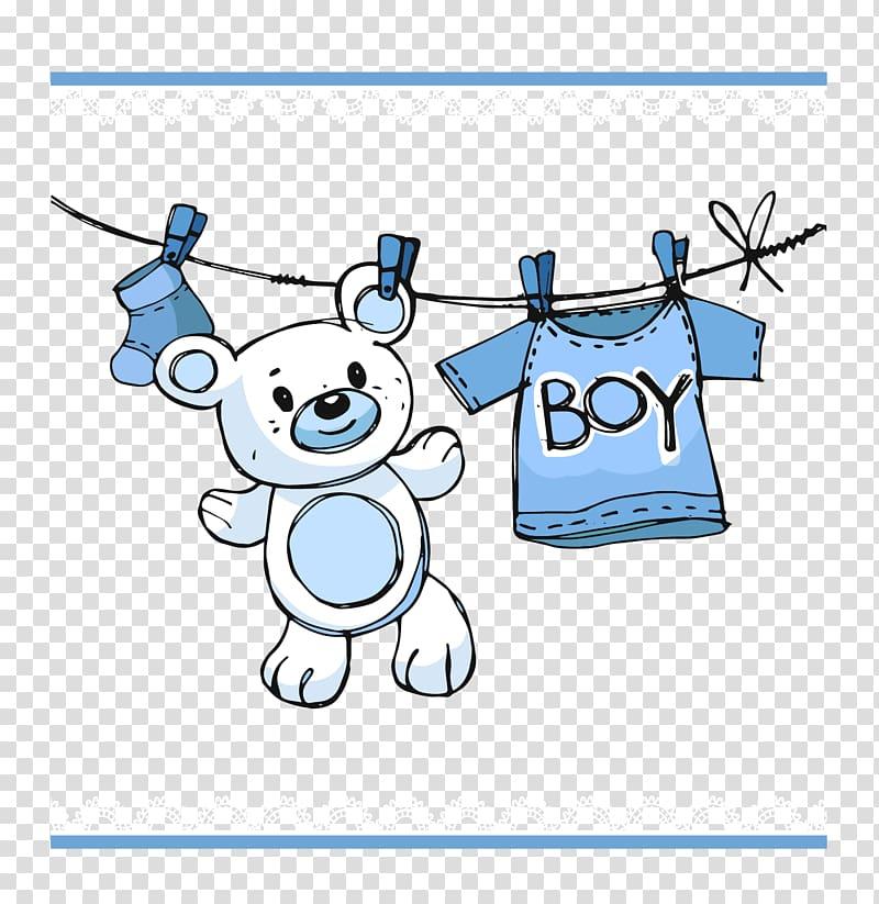 White bear illustration, Infant Boy Child Baby shower.