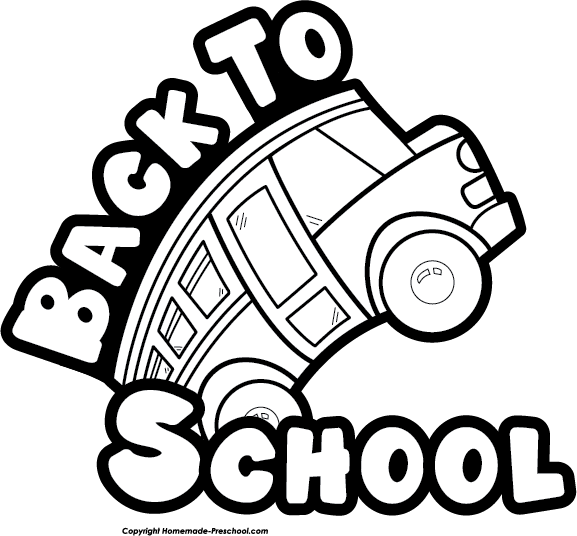 Black and white clipart back to school.