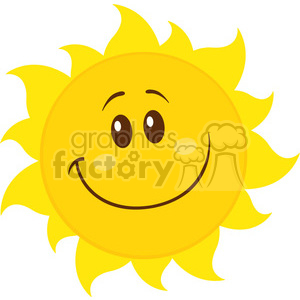 smiling yellow simple sun cartoon mascot character vector illustration  isolated on white background clipart. Royalty.