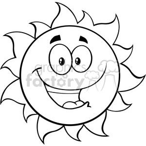 black and white happy sun cartoon mascot character vector illustration  isolated on white background clipart. Royalty.