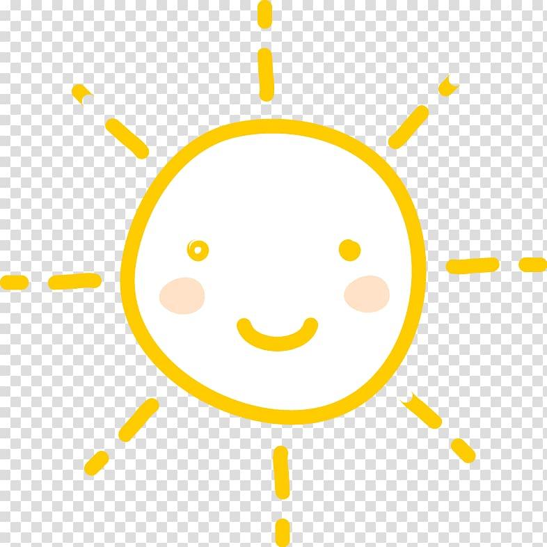 Yellow and white smiley sun , Icon, Cute cartoon sun.