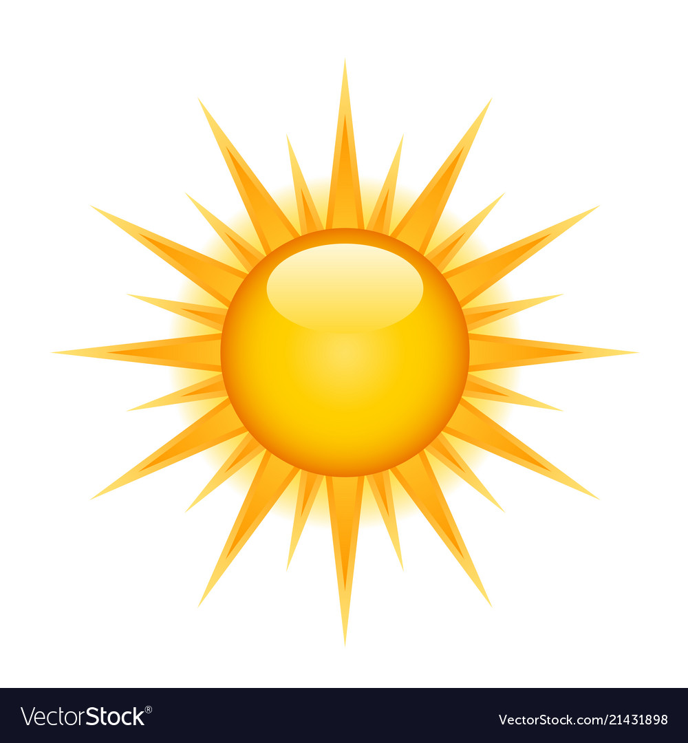 Icon of glossy bright sun on white background.