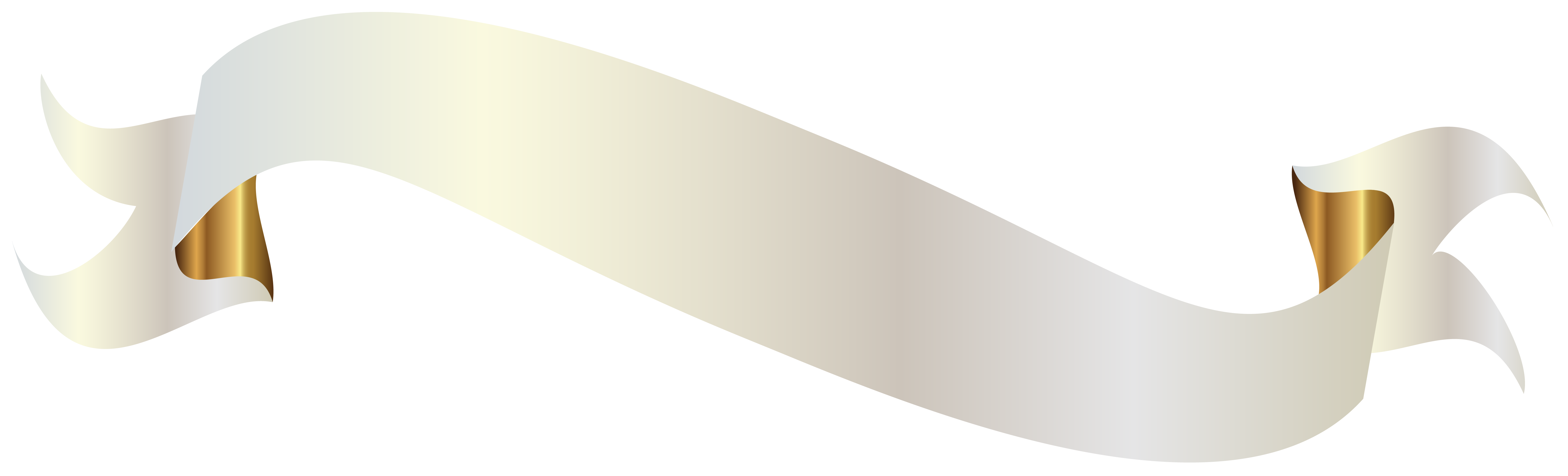 White Banner with Gold PNG Clipart Picture.