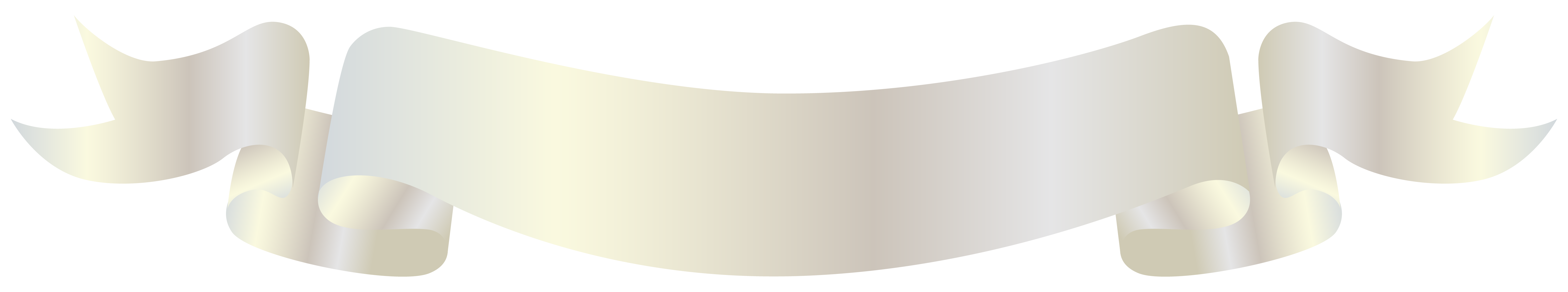 White Banner PNG Clipart Image.