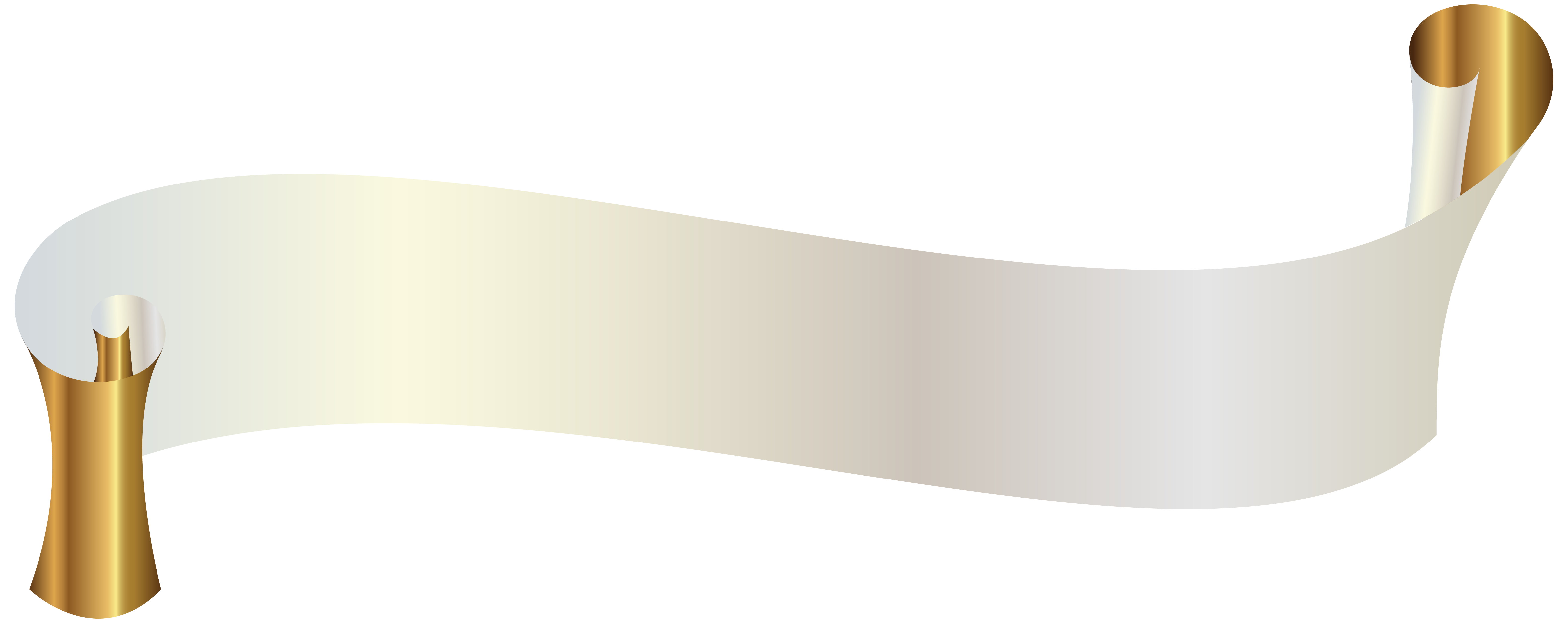 White Banner with Gold PNG Clipart Image.