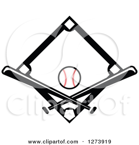 Clipart of a Black and White Baseball on a Base and Crossed Bats.
