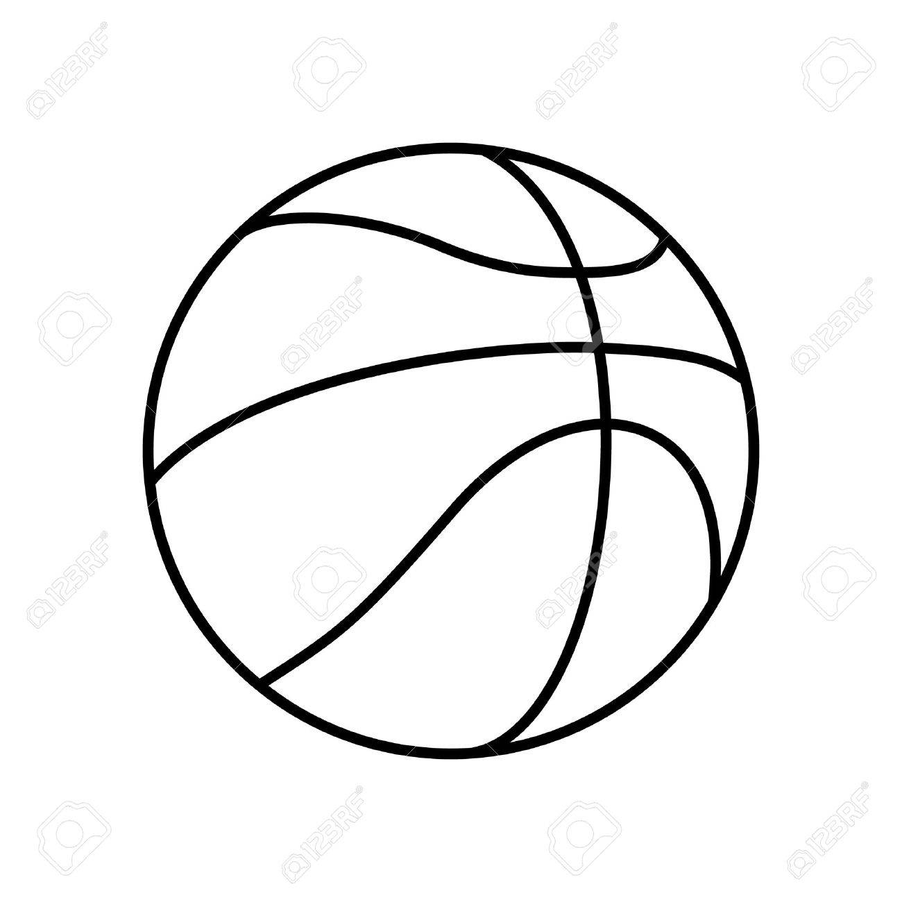Black and White Basketball Ball Outline Vector Icon Isolated.