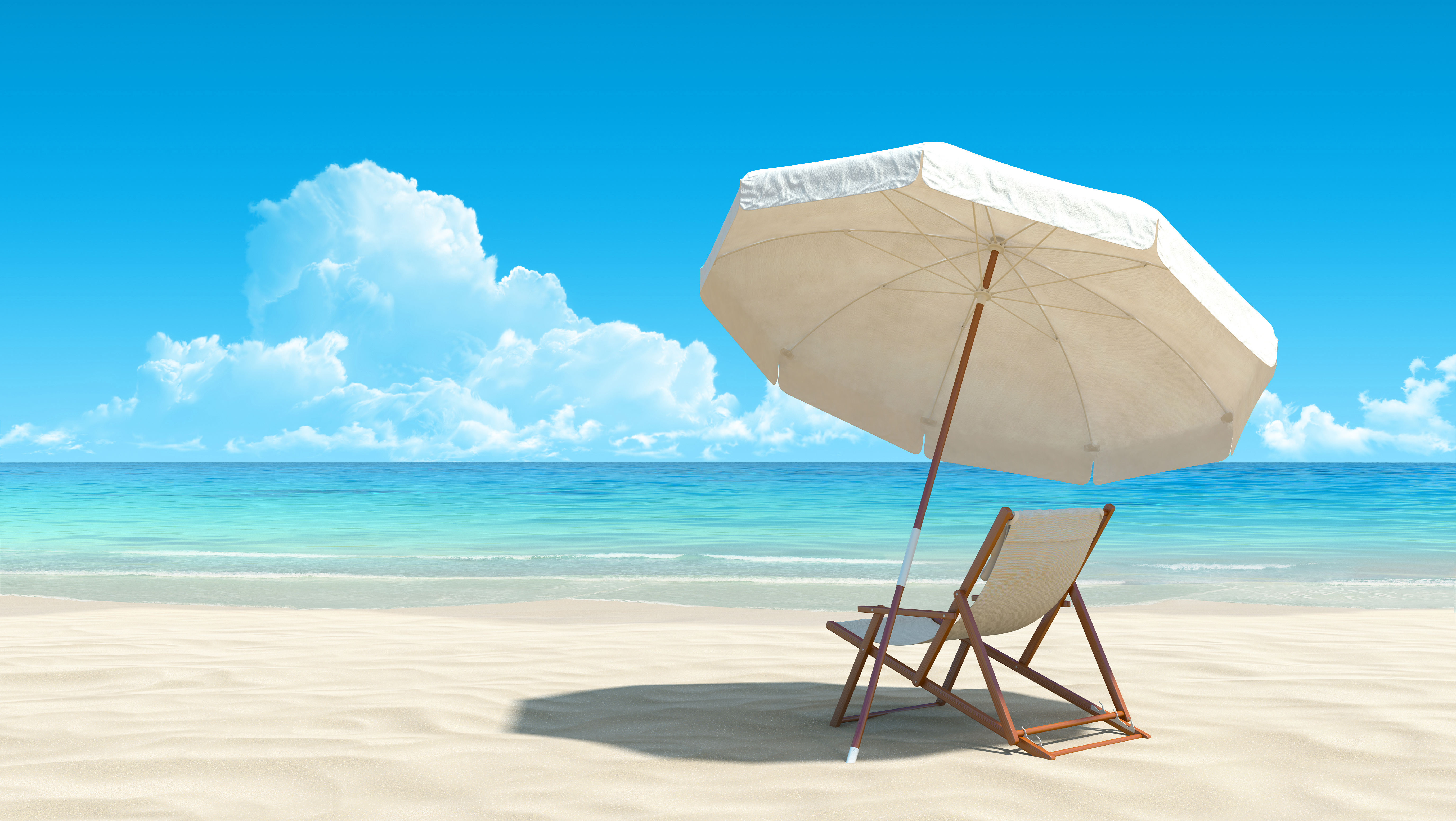 White Beach Lounge Chair and Umbrella Background.