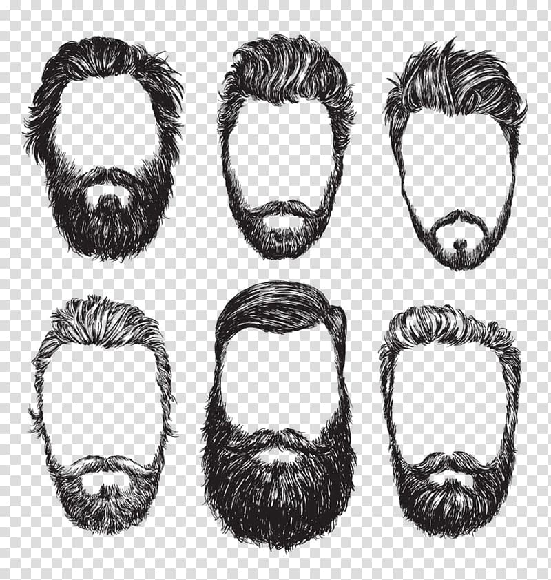 Six beard styles collage, Beard illustration Illustration.