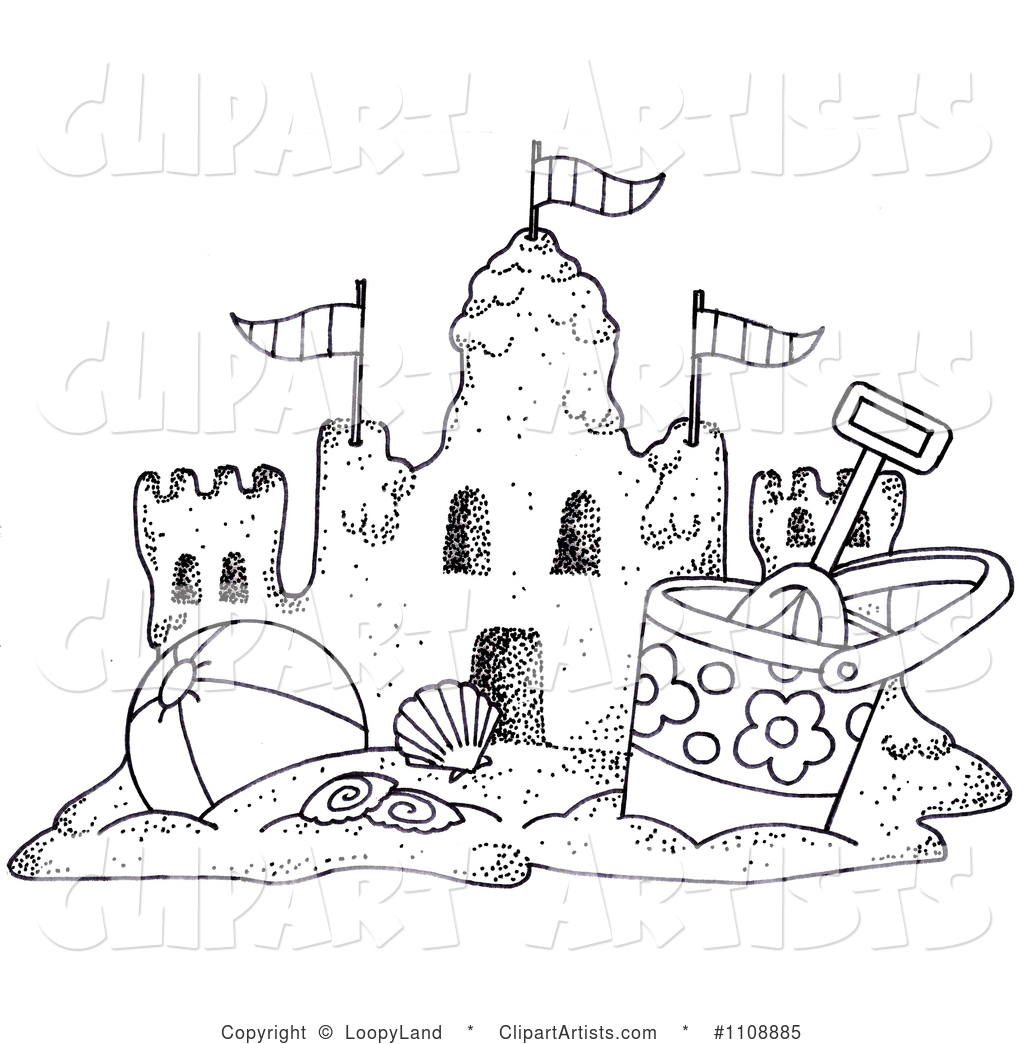 The beach clipart black and white.