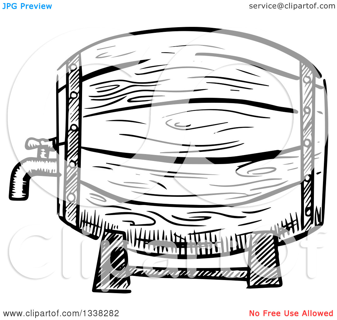 Clipart of a Sketched Black and White Beer Keg.