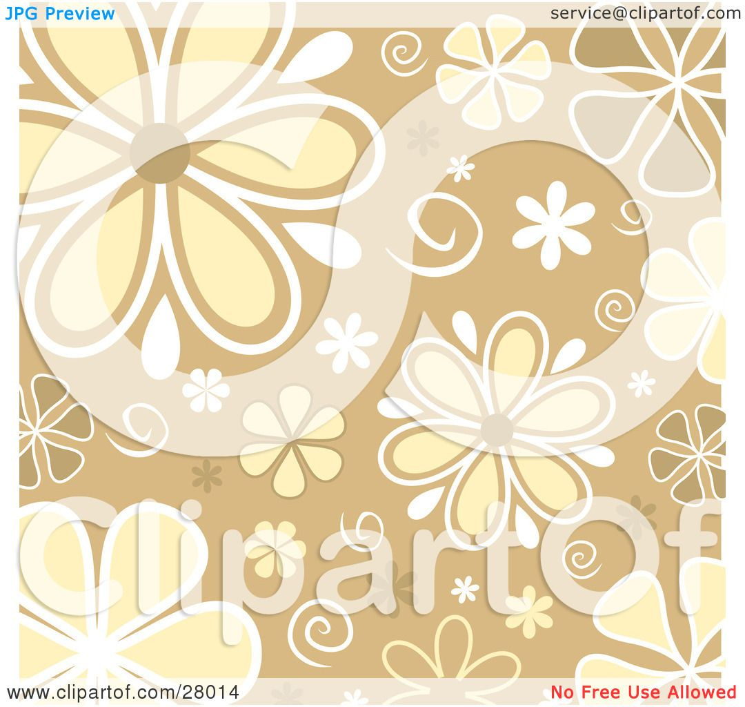 Clipart Illustration of White, Yellow And Brown Daisy Flowers And.