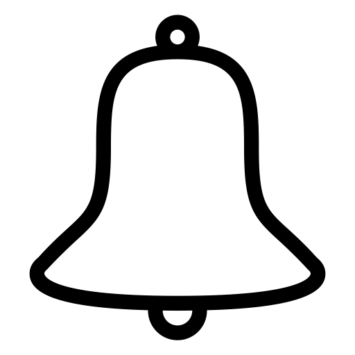 Black and White Bell Outline PNG Image with Transparent Background.