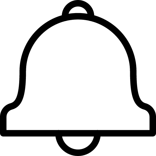 Black Outline Bell Icon PNG Image with Transparent background.