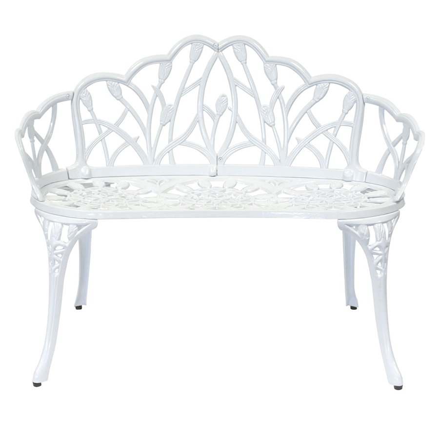 Charles Bentley White Tulip Metal Patio Bench.