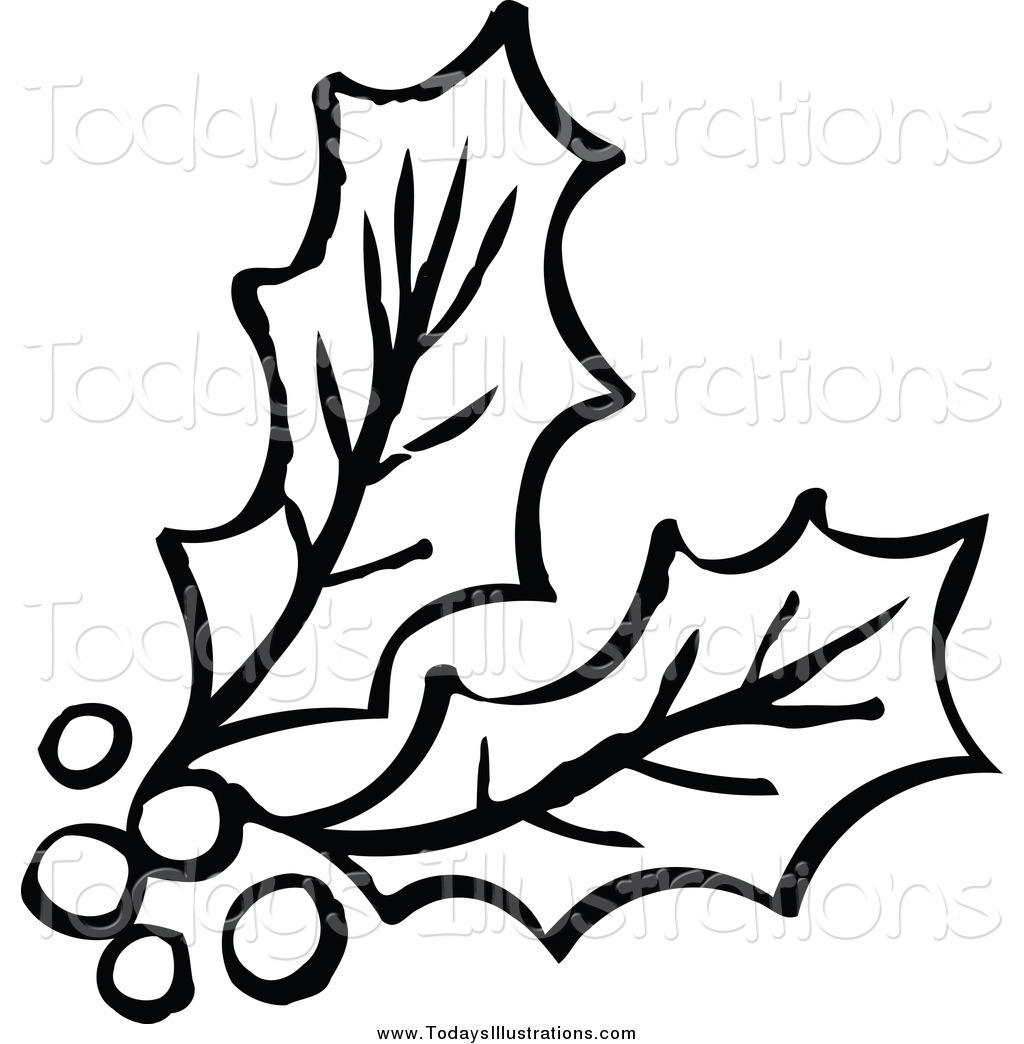 Clipart of a Black and White Berries and Holly by NL shop.