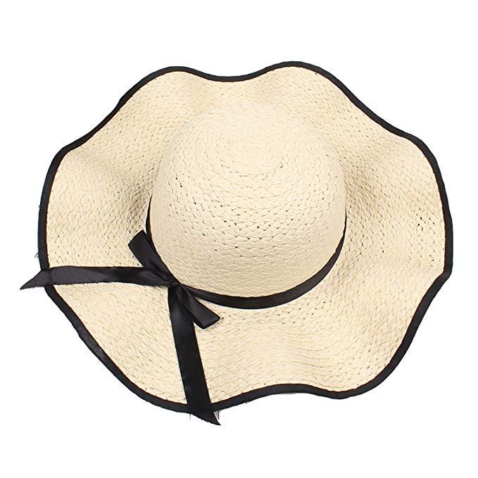 Hat Lady Travel Sunhat Cute Sweet Bow Wave Side Seaside Big.