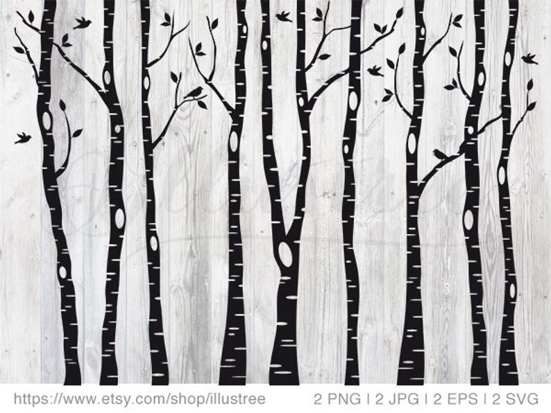 Birch tree forest, digital clip art, black and white trees, cut files for  cutting machine, png, jpg, vector, EPS, SVG, instant download.