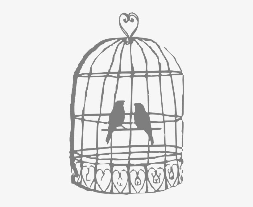 Drawn Birdcage Black And White.